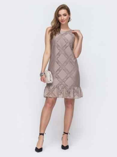 Бежевое платье-трапеция с вырезом по спинке 48144, фото 1