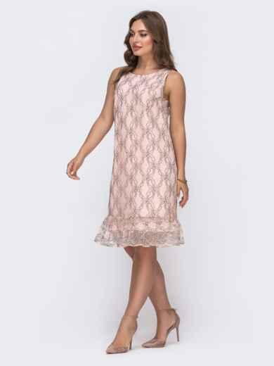 Пудровое платье-трапеция с вырезом по спинке 48145, фото 1
