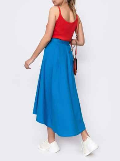 Голубая юбка на запах с удлиненной спинкой 48146, фото 2