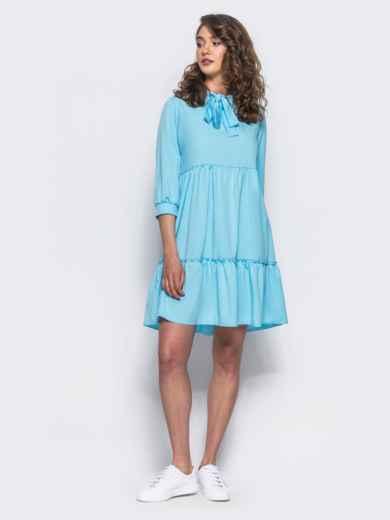 Голубое двухъярусное платье с бантом по горловине - 11704, фото 2 – интернет-магазин Dressa