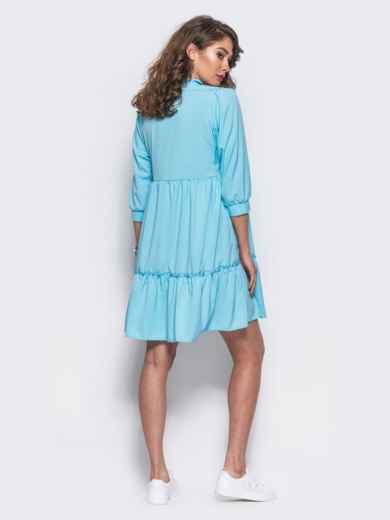 Голубое двухъярусное платье с бантом по горловине - 11704, фото 3 – интернет-магазин Dressa