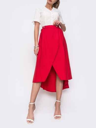 Красная юбка на запах с удлиненной спинкой 48147, фото 1