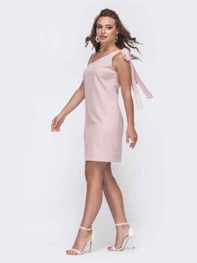 Платье пудрового цвета с асимметричным верхом 48143, фото 1
