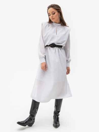 Расклешенное платье в мелкий горох с подплечниками белое 51343, фото 2