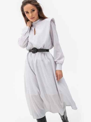 Расклешенное платье в мелкий горох с подплечниками белое 51343, фото 3
