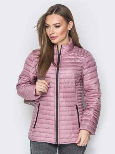 Розовая куртка с воротником-стойкой и карманами 20289, фото 1