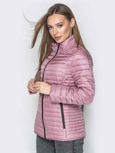 Розовая куртка с воротником-стойкой и карманами - 20289, фото 2 – интернет-магазин Dressa