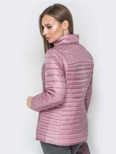 Розовая куртка с воротником-стойкой и карманами - 20289, фото 3 – интернет-магазин Dressa