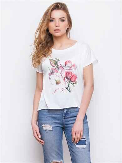 Укороченная блузка с цветочным принтом 13432, фото 1