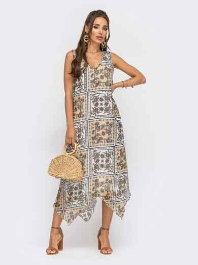 Асимметричное платье-трапеция из принтованного шифона бежевое 53842, фото 1