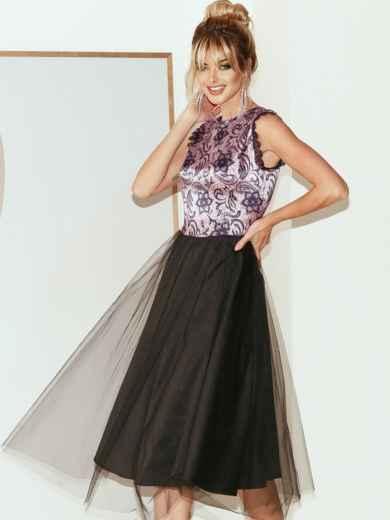 Атласное платье с расклешенной юбкой черное 51789, фото 2