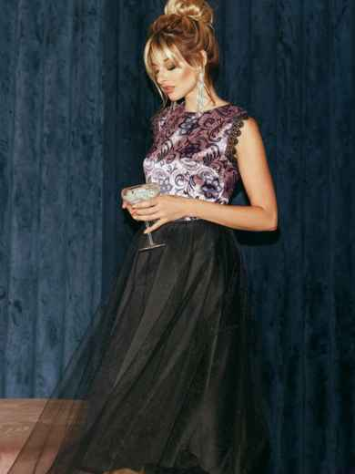 Атласное платье с расклешенной юбкой черное 51789, фото 5