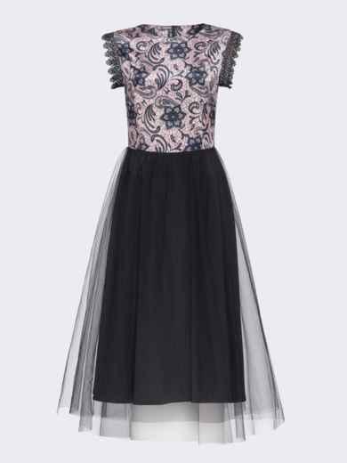 Атласное платье с расклешенной юбкой черное 51789, фото 8