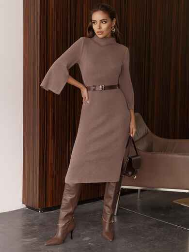 Бежевое платье приталенного силуэта с поясом 51550, фото 1