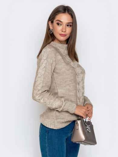Бежевый свитер с ажурной вязкой - 41074, фото 2 – интернет-магазин Dressa