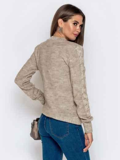 Бежевый свитер с ажурной вязкой - 41074, фото 3 – интернет-магазин Dressa