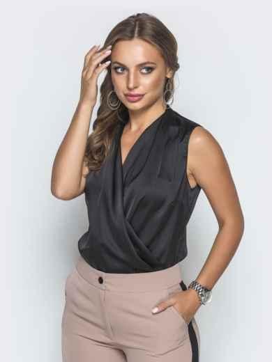 Шелковая блузка чёрного цвета 39942, фото 1