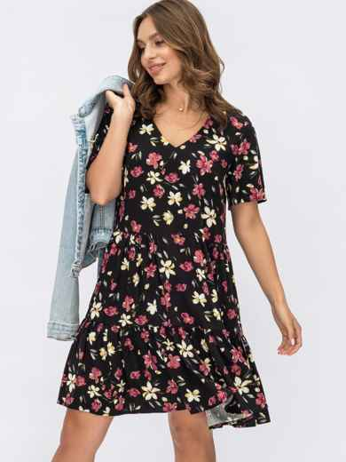 Черное платье с цветочным принтом и воланом по низу 54133, фото 1