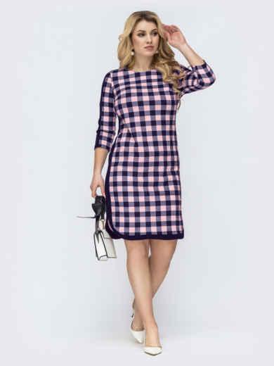 Темно-синее платье большого размера в розовую клетку 55617, фото 1