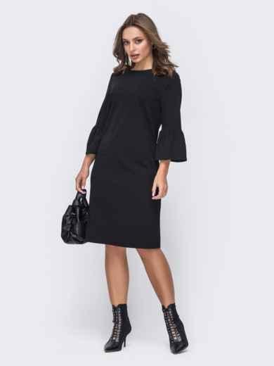 Черное платье с рукавом 3/4 застёгивается на молнию 51552, фото 1