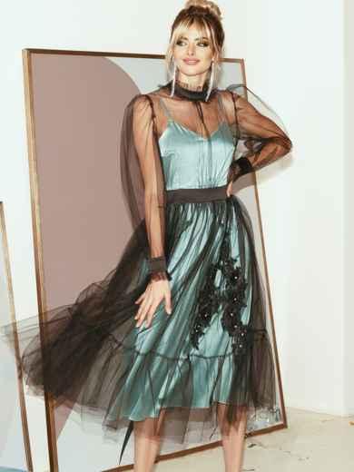 Расклешенное платье из атласа с фатином мятное 51785, фото 1