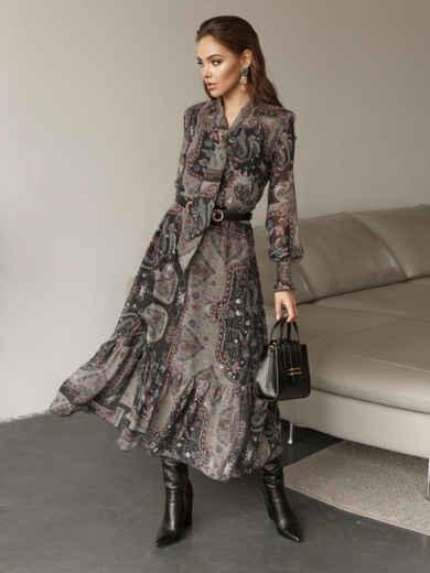 Расклешенное платье с принтом и воланом по низу 51791, фото 1