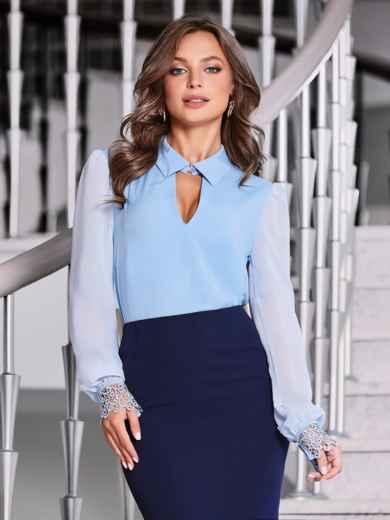 """Голубая блузка с вырезом """"замочная скважина"""" - 40070, фото 2 – интернет-магазин Dressa"""