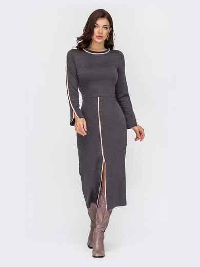 Графитовое платье приталенного кроя с высоким разрезом спереди 51792, фото 1