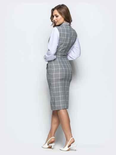 Клетчатый сарафан серого цвета из костюмной ткани - 22024, фото 2 – интернет-магазин Dressa