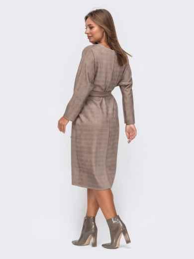 Коричневое платье из замши в клетку с фигурным вырезом 50823, фото 3