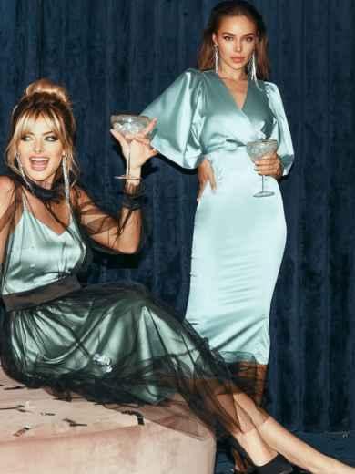 Мятное платье-футляр из атласа с расклешенными рукавами 51788, фото 2