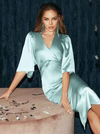 Мятное платье-футляр из атласа с расклешенными рукавами 51788, фото 3