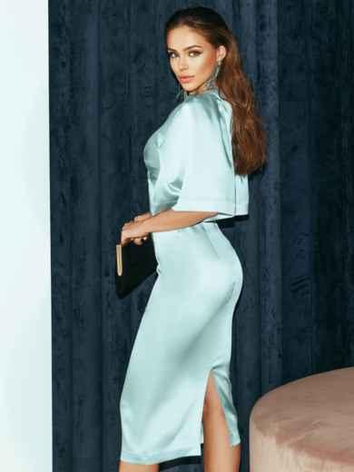 Мятное платье-футляр из атласа с расклешенными рукавами 51788, фото 4