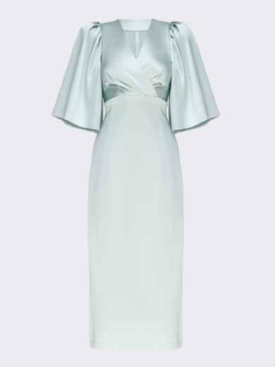 Мятное платье-футляр из атласа с расклешенными рукавами 51788, фото 5
