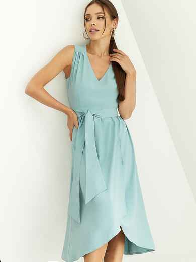 Мятное платье приталенного кроя с V-образным вырезом 54146, фото 1