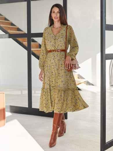Оливковое платье из шифона с принтом и V-образным вырезом 54808, фото 1