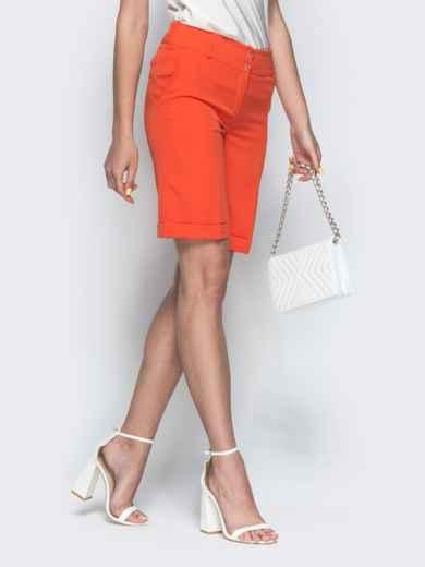 Оранжевые шорты из костюмной ткани со шлевками 38141, фото 2