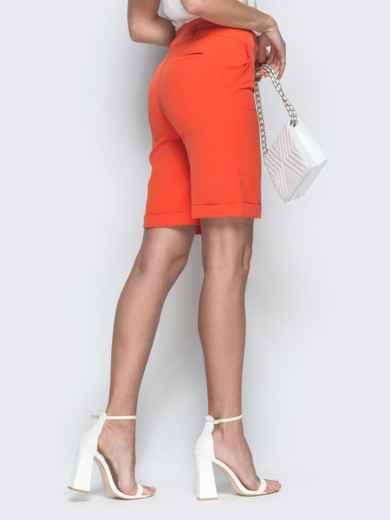 Оранжевые шорты из костюмной ткани со шлевками 38141, фото 3
