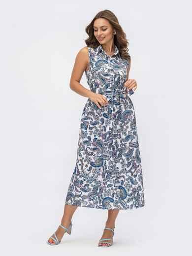 """Платье-рубашка с принтом """"турецкие огурцы"""" синего цвета 54158, фото 1"""