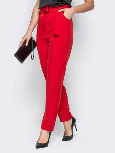 Прямые брюки с завышеной талией и карманами красные - 20586, фото 2 – интернет-магазин Dressa