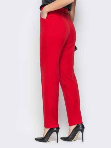 Прямые брюки с завышеной талией и карманами красные - 20586, фото 3 – интернет-магазин Dressa