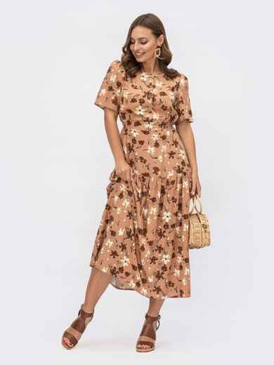 Расклешенное платье-миди с цветочным принтом коричневое 54152, фото 1