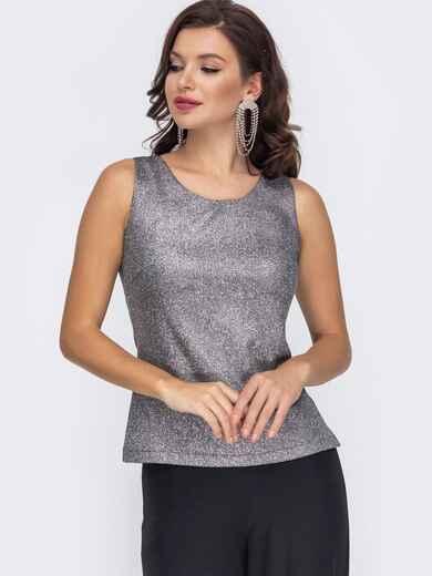 Серая блузка приталенного кроя из люрекса 51781, фото 1