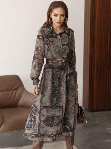 Шифоновое платье-рубашка с принтом хаки 51784, фото 1