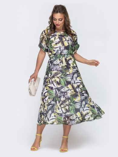 Шифоновое платье с принтом и расклешенной юбкой чёрное 48076, фото 1