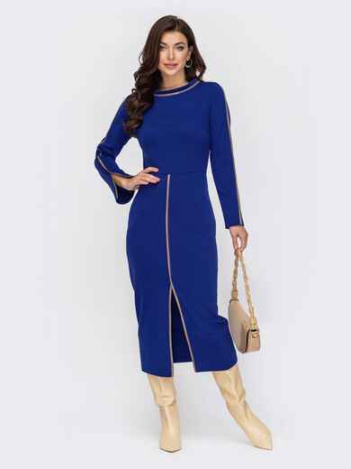 Синее платье приталенного кроя с высоким разрезом спереди 51793, фото 1