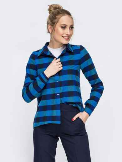 Синяя рубашка в полоску 45607, фото 1