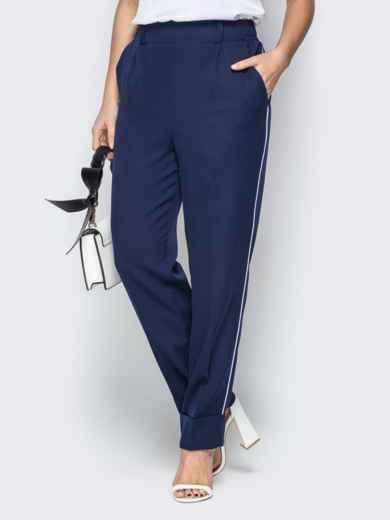 Тёмно-синие брюки на резинке с лампасами и отворотами - 20589, фото 2 – интернет-магазин Dressa