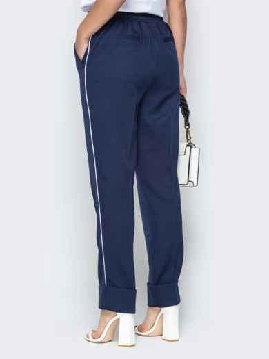 Тёмно-синие брюки на резинке с лампасами и отворотами - 20589, фото 3 – интернет-магазин Dressa