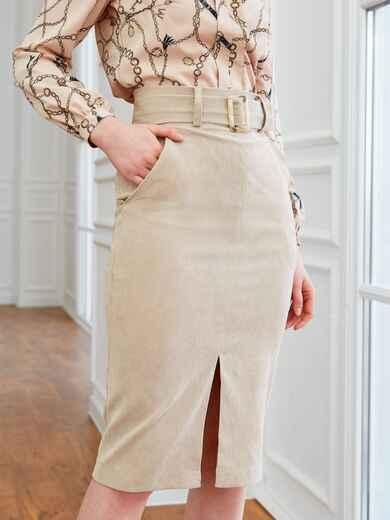 Вельветовая юбка прямого кроя с разрезом спереди бежевая 53502, фото 1